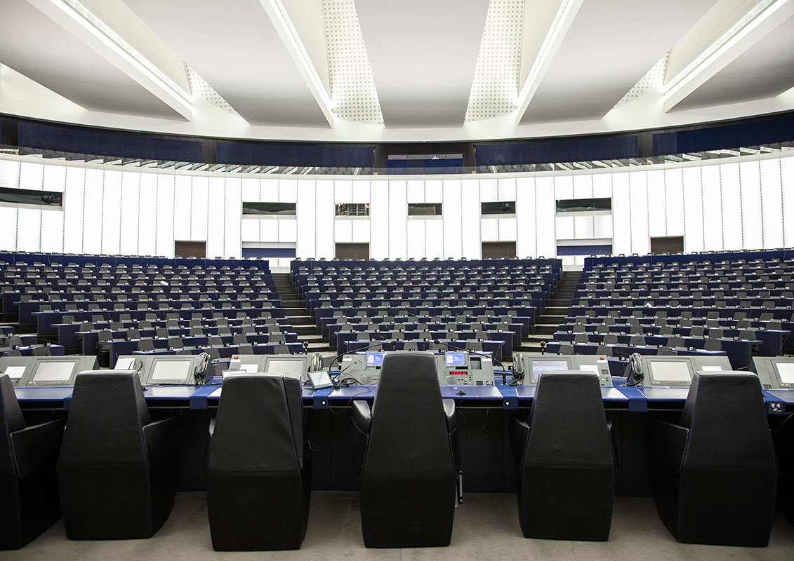 Summer season at the European Parliament in Strasbourg - Empty hemicycle