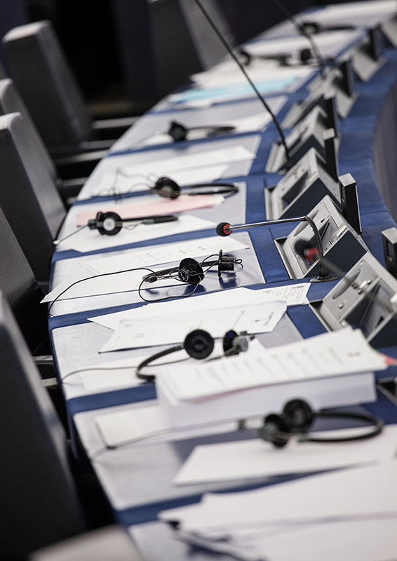 Summer season at the European Parliament in Strasbourg - Empty hemicycle, Headsets
